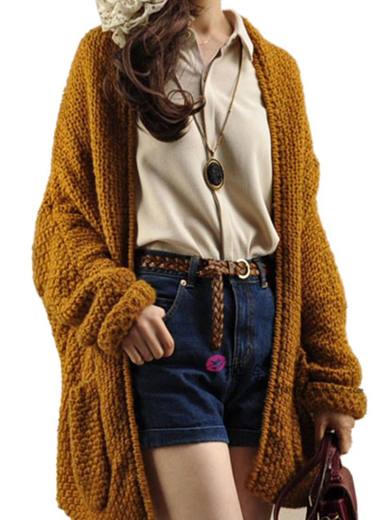 brown women's cardigan with shorts