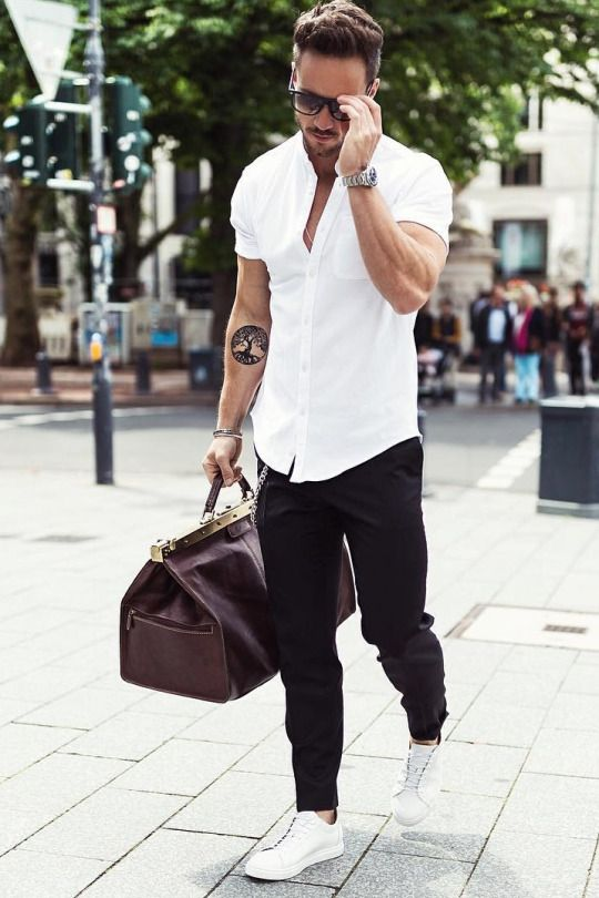 smart casual men's summer look with white shirt and dark pants