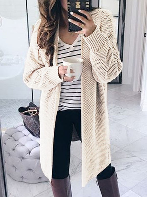 beige cardigan with striped shirt