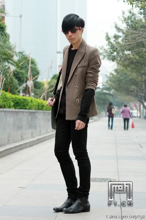 casual business black men outfit with brown blazer
