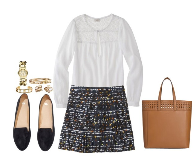 women's casual outfit with skirt