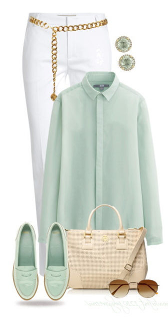 green loafers blouse white pants and beige bag
