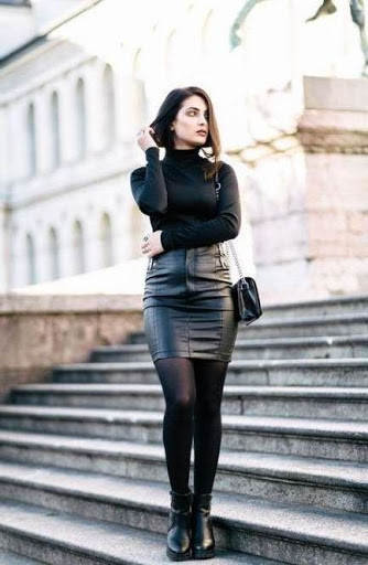 chic winter outfit with leather skirt