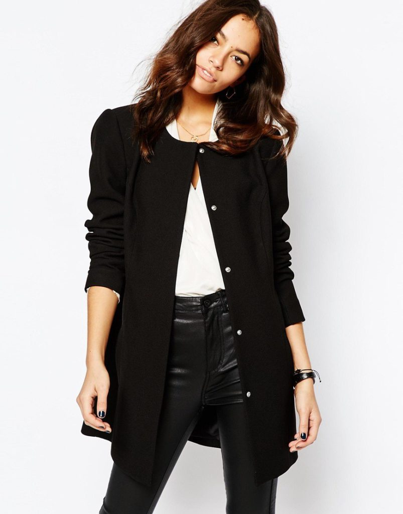 chic women's outfits with collarless coat
