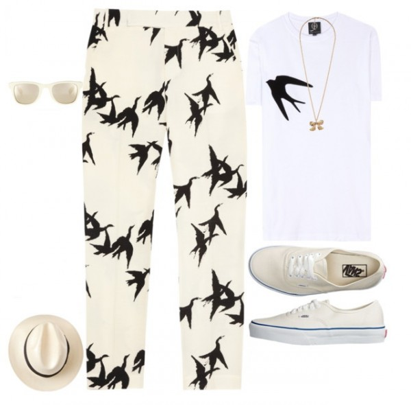 casual bird print pant outfit for women