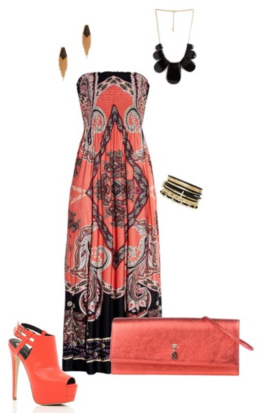 coral maxi dress outfit for summer