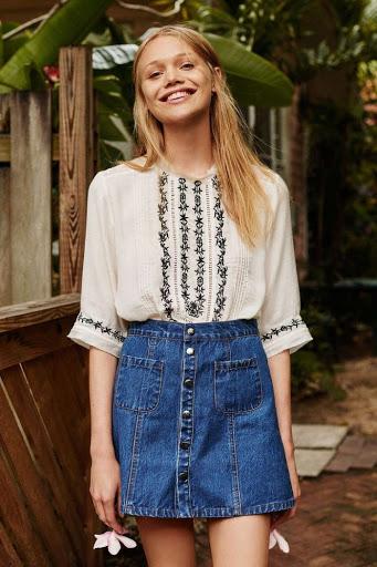 classic denim skirts looks for fall