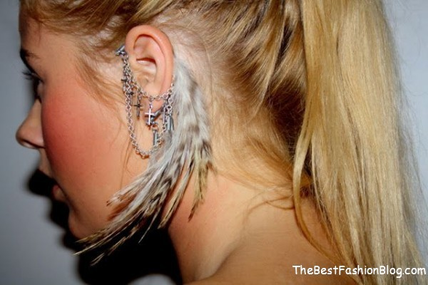white feather ear cuffs