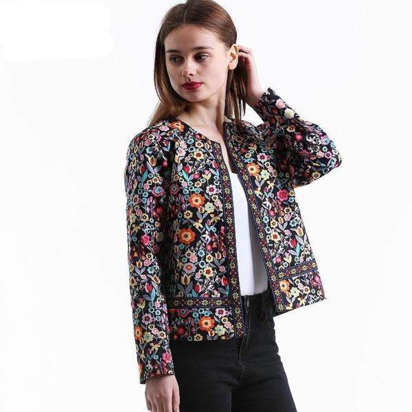 floral collarless jackets