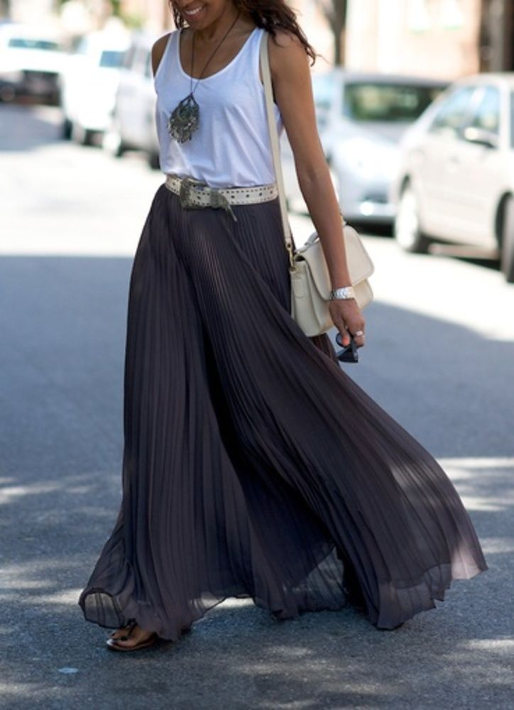 gray maxi skirts for summer