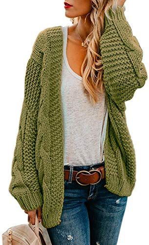 green women's cardigan with jeans