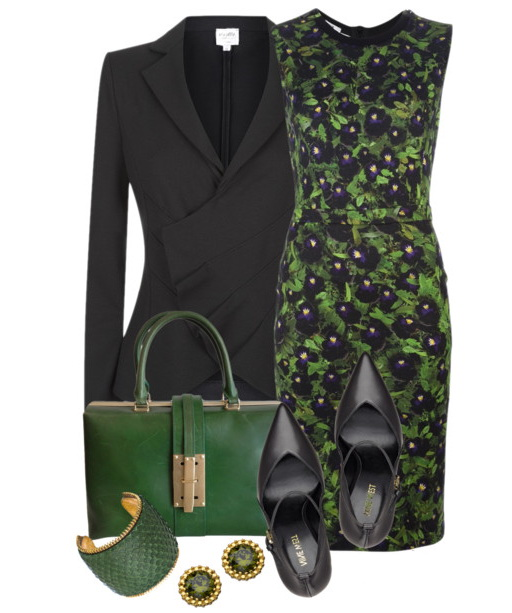 green dress with coat outfit for business women over 40