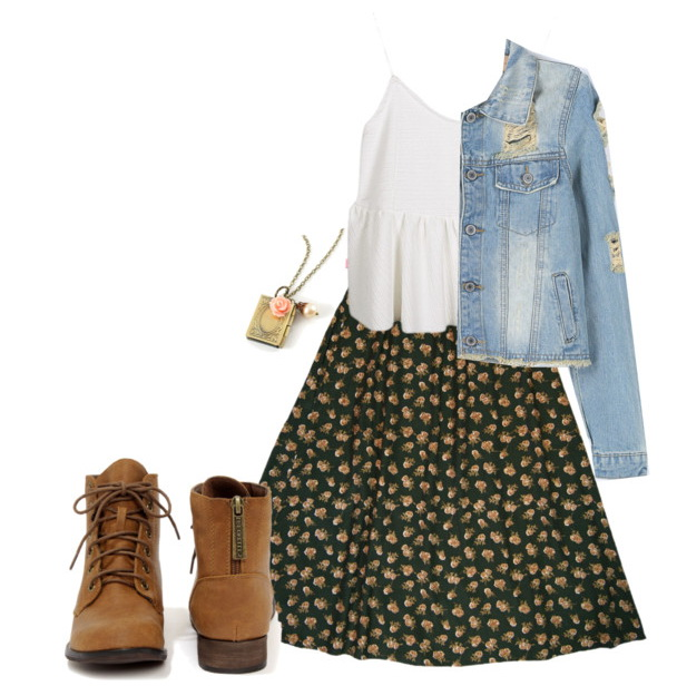 casual women's look for spring with skirt and  boots