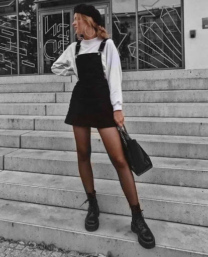 grunge look with black dungaree and white sweater