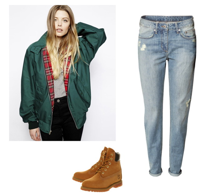 green harrington jacket with jeans for women