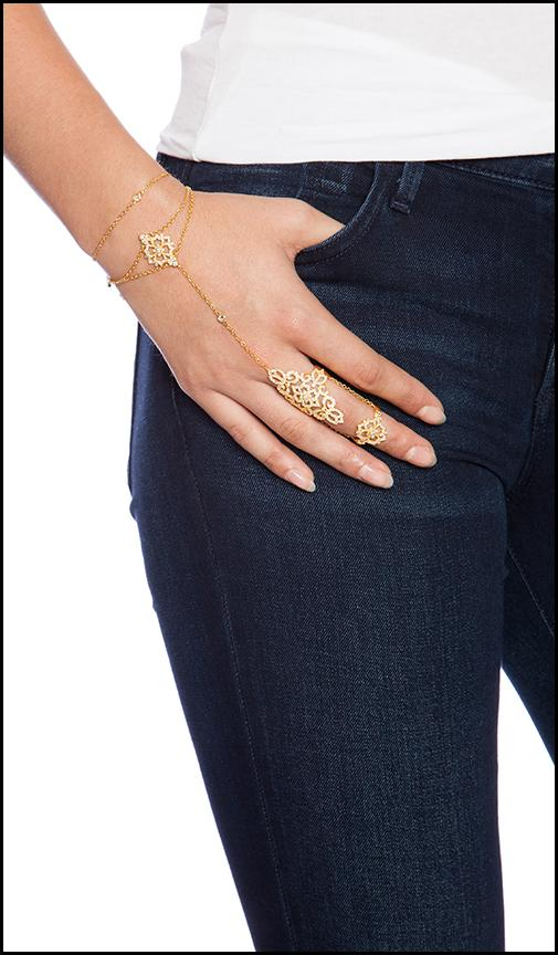 boho lace bracelet in metallic gold gift for women
