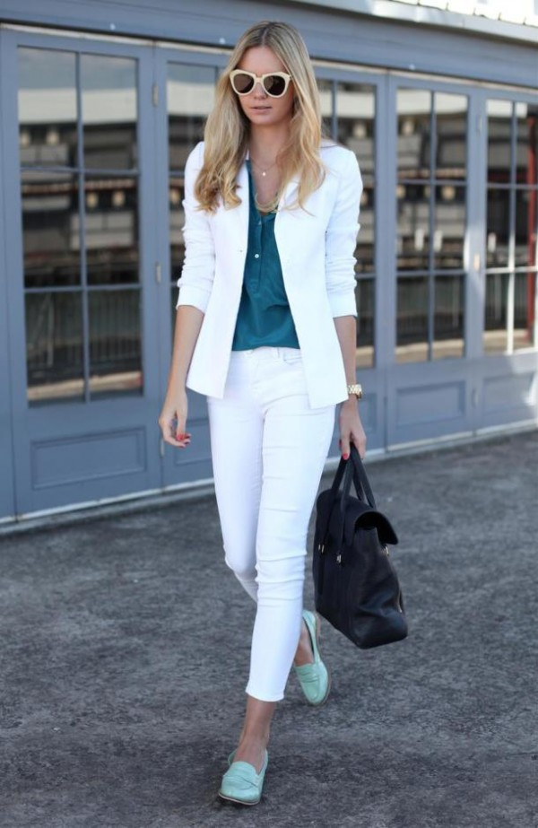 white women's suit with blue loafers