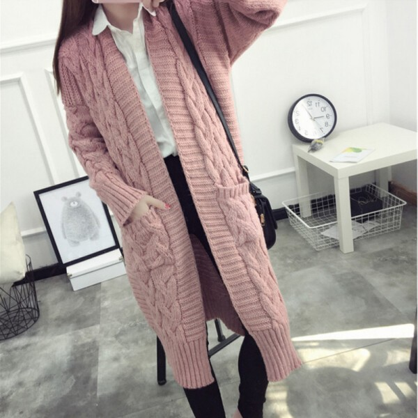 long pink women's cardigan for fall winter