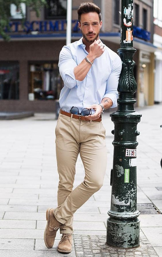 smart casual look with being pants and light blue shirt for spring summer