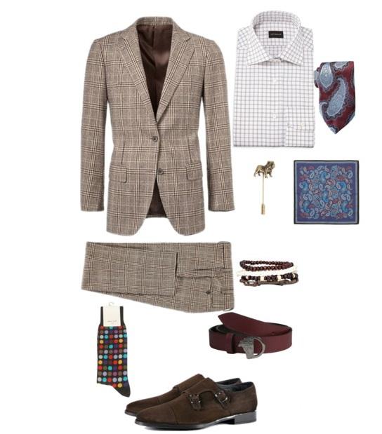 classic brown plaid men's dapper style outfit