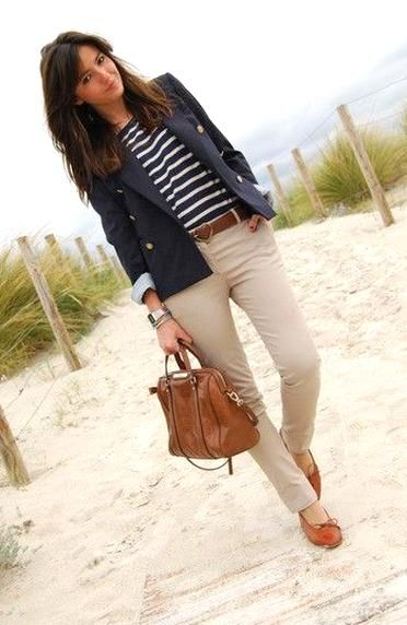 nautical striped shirt with beige pants and navy blazer