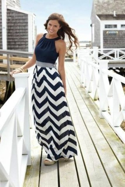 nautical marine striped maxi skirt