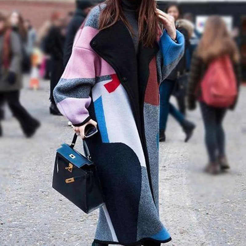 warm oversized color block coats for women