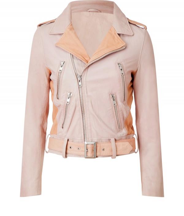 pale pink biker jacket