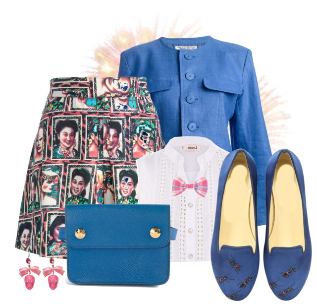 women's casual outfit with printed skirt