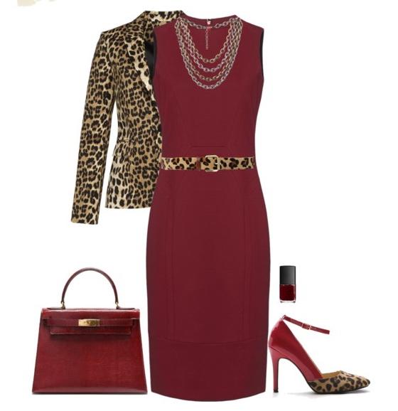 red dress with animal print blazer