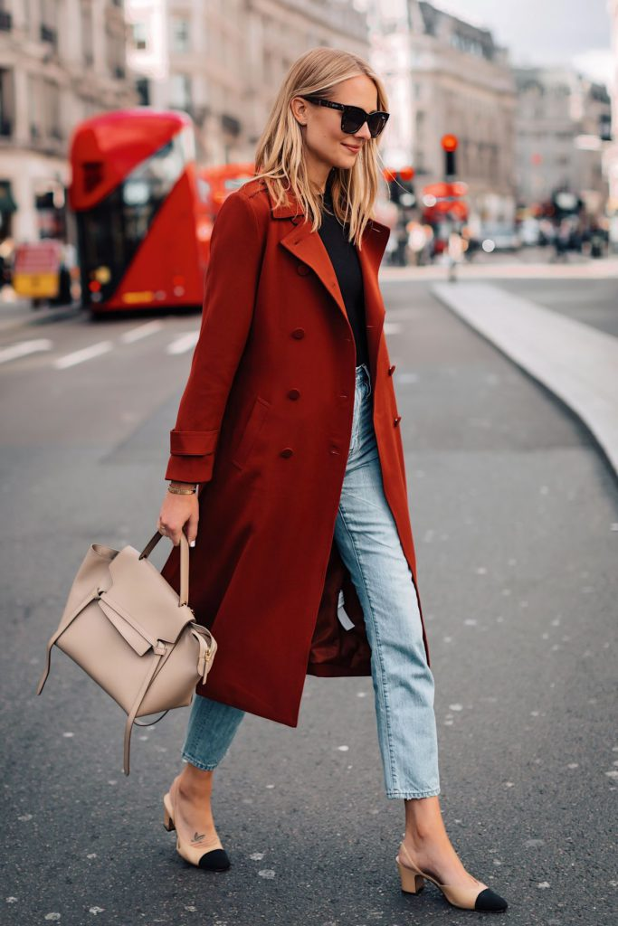 red fall coats