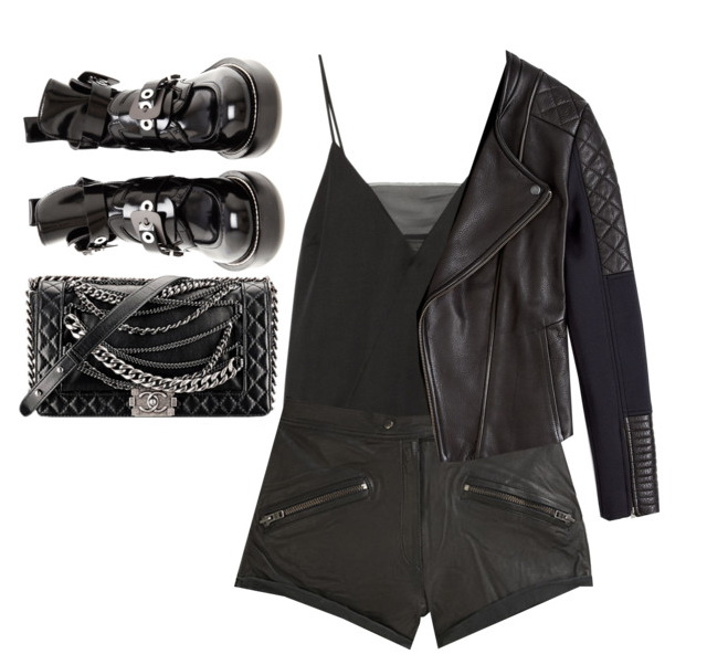 glam women's outfit with shorts leather jacket and boots