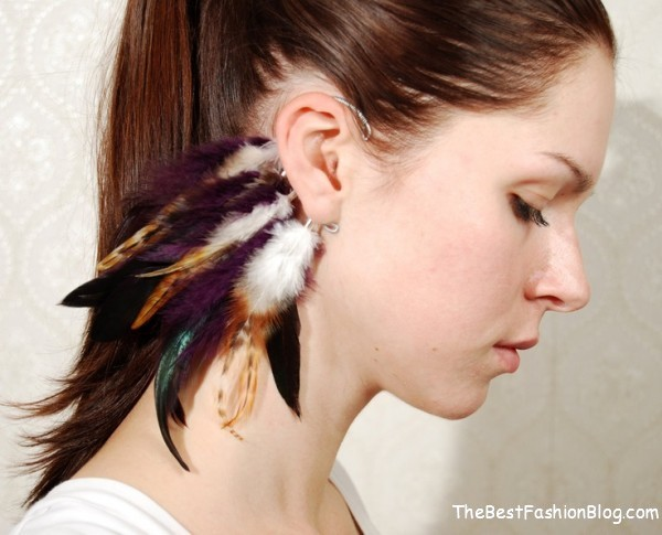 chic feather ear cuffs