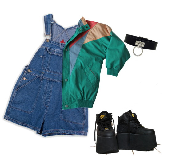 sporty outfit with shorts denim dungaree and boots