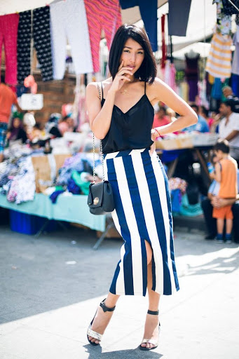 striped nautical skirt for summer outfits