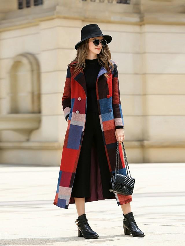 trendy long color block coats for autumn winter