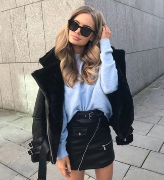 leather skirt blue sweater and leather jacket