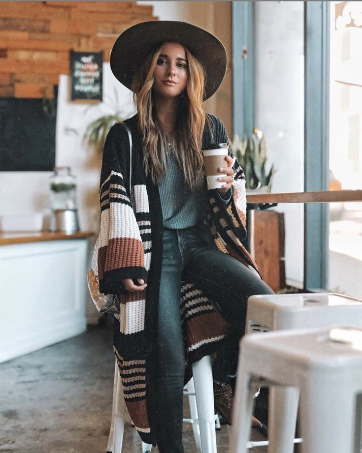 striped bohemian poncho outfit for winter