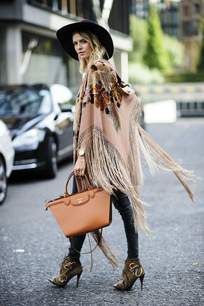poncho with jeans and boots for fall winter