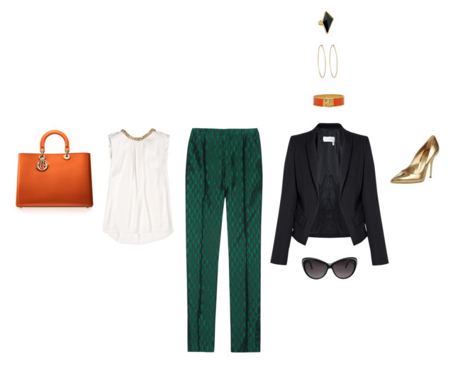 women's work outfit with fit straight-leg pants