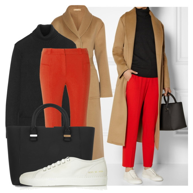 women's fall look with fit straight-leg pants