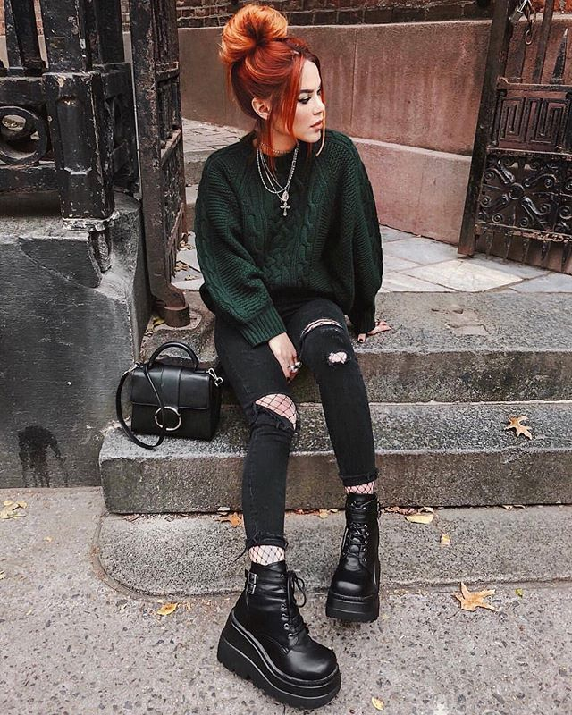 sweater with ripped jeans and boots