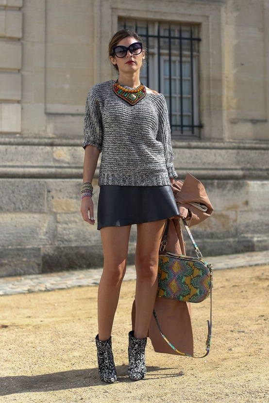 leather skirt gray sweater and boots