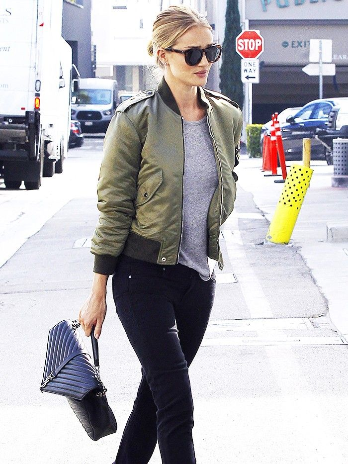 women's green bomber jacket outfit
