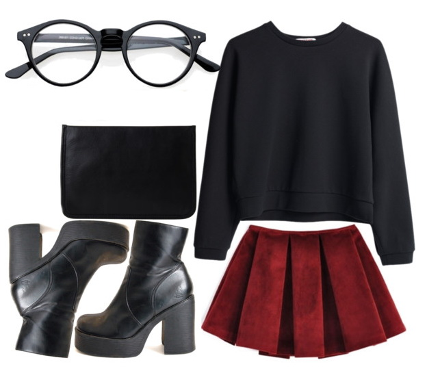 women's hipster look with red skirt and boots