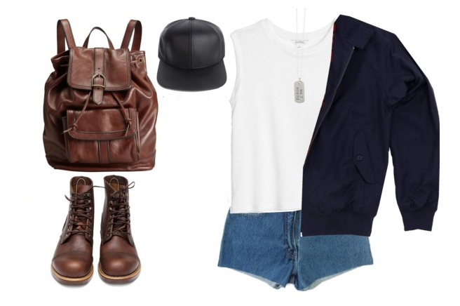 women's summer outfit with harrington jacket