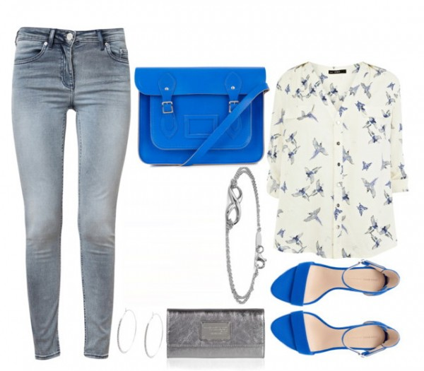 women's casual outfit with bird print blouse