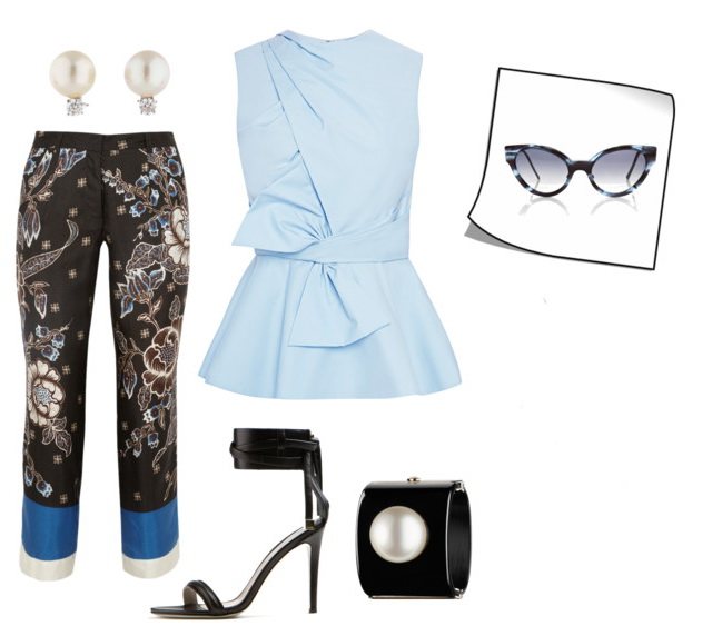 women's office looks with printed pants