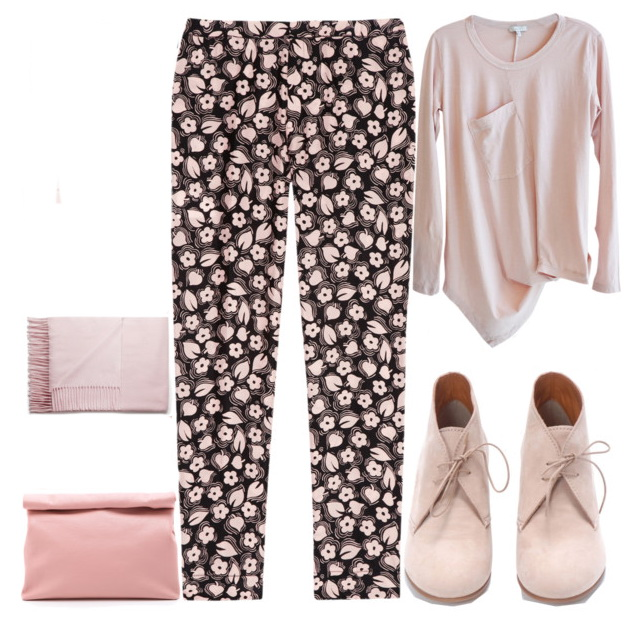printed fit straight-leg pants outfit for fall