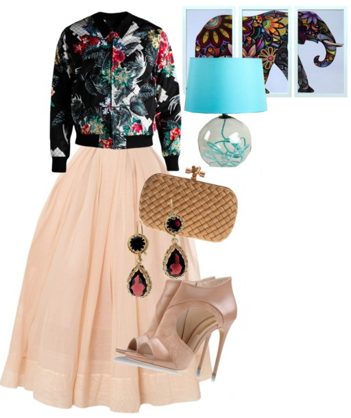 printed harrington jacket with long pink skirt and heels